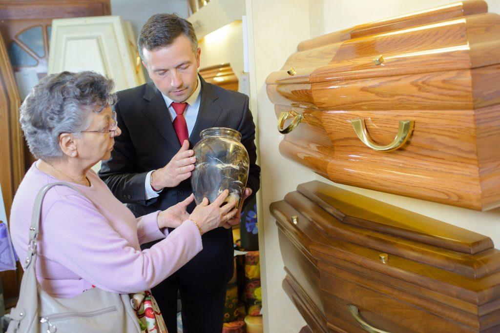 Woman choosing for an urn