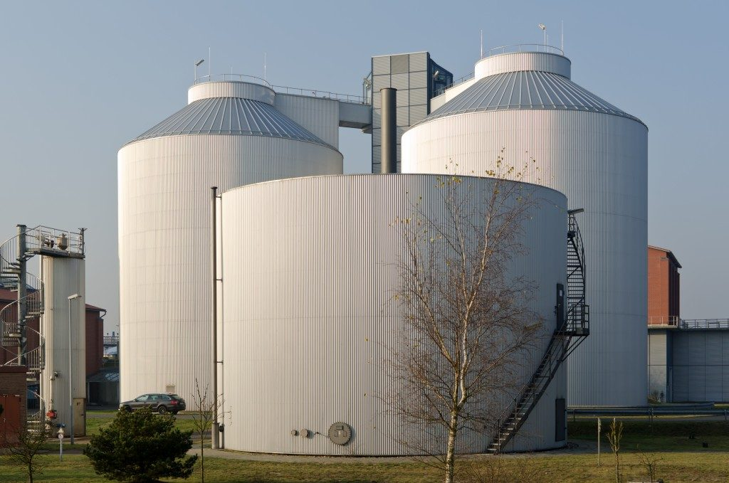Silos in an industrial plant