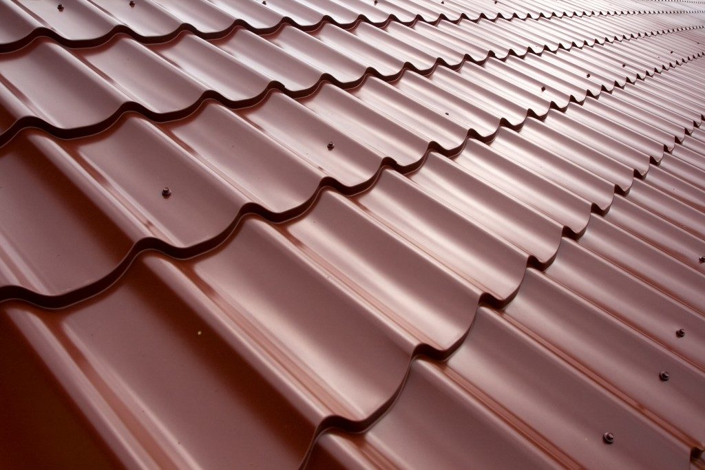 Red metal tile roofing