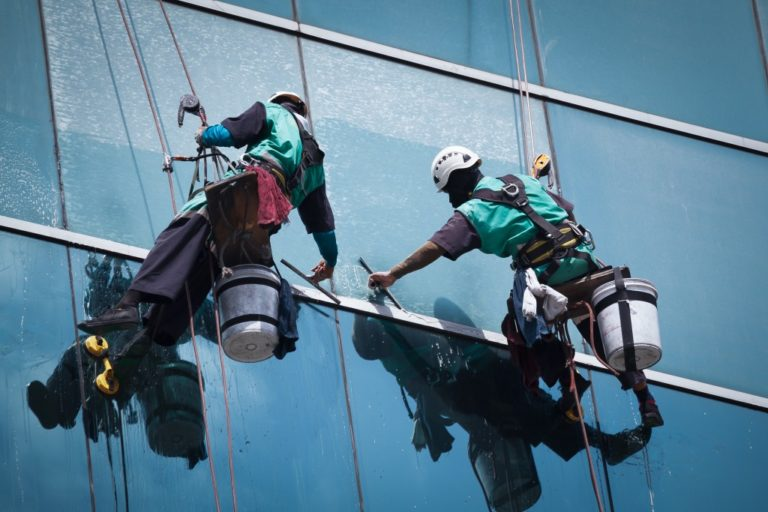 window cleaners suspended