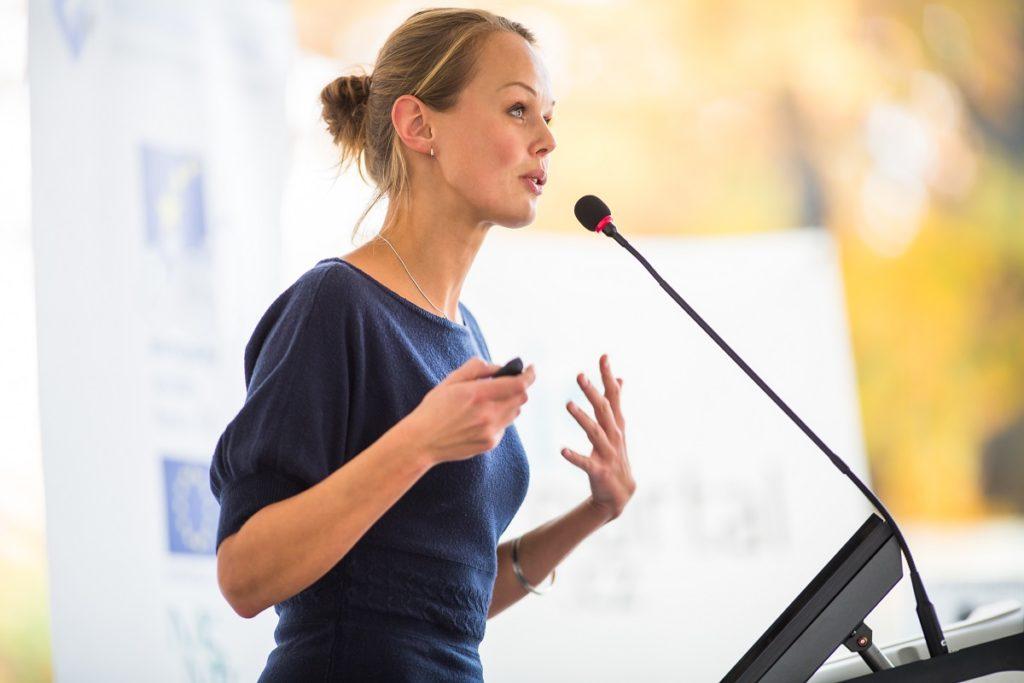 woman teaching people