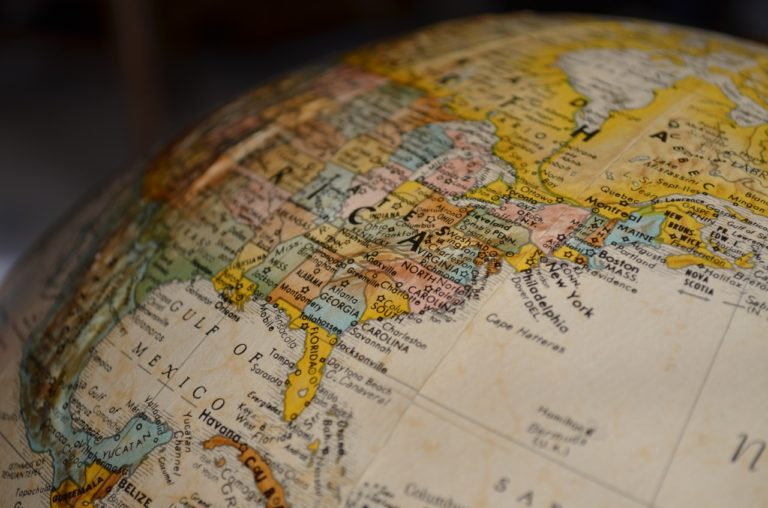 the northern hemisphere of a globe