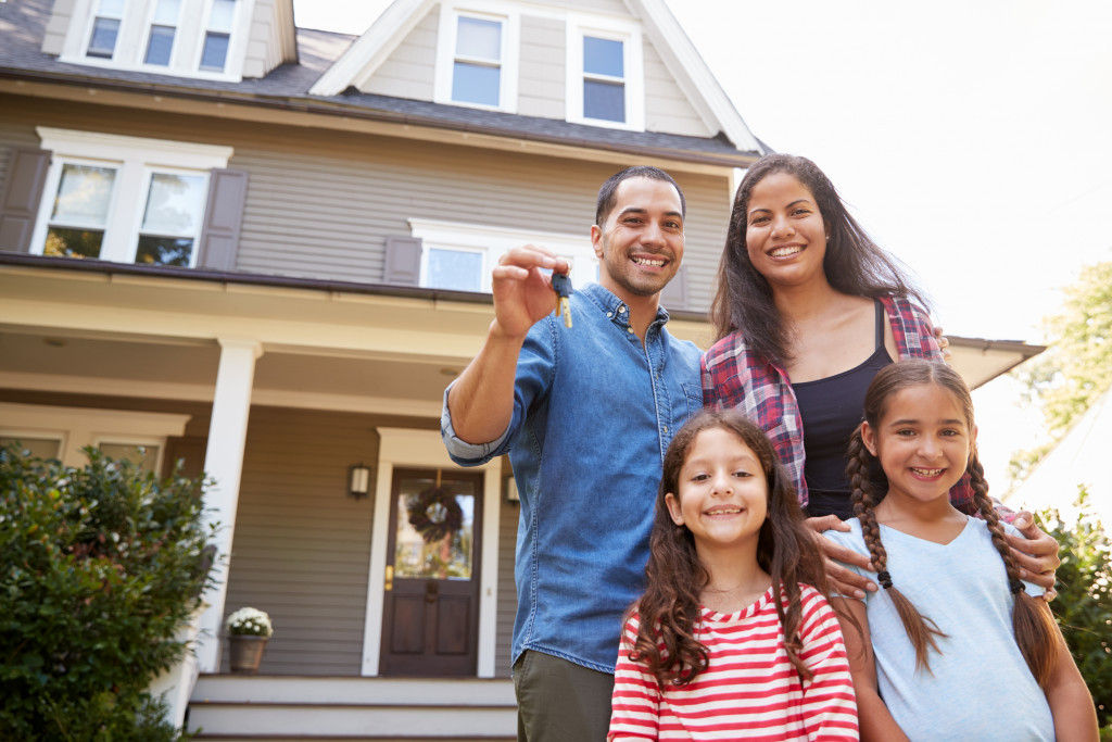 family with new house